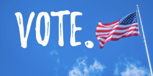 Words VOTE with American Flag and blue sky.